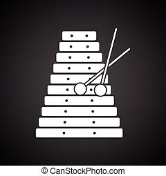 Xylophone icon. Black background with white. Vector...