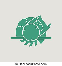 Circular saw icon. Gray background with green. Vector...