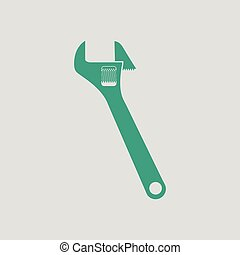 Adjustable wrench icon. Gray background with green. Vector...