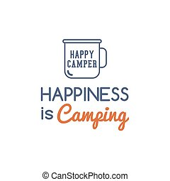 Camping typography concept with hiking symbol - travel mug...