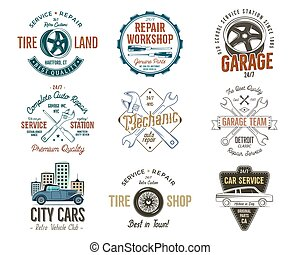 Vintage car service badges, garage repair labels and insignias collection. Retro colors design. Good for repair workshop, classic cars auctions, clubs, tee shirt. Vector.
