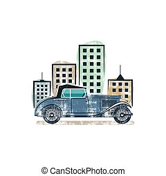 Vintage car show label design. Classic auto badge, insignia. Retro colors patch. Use as logo for repair workshop, classic cars auctions, clubs, tee shirt, apparel, clothing prints. illustration.