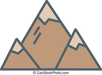 Summer and winter mountain explorer camp icon in flat style....