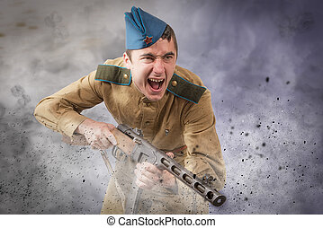 Soviet soldier ww2 attack - young Soviet soldier ww2 with...