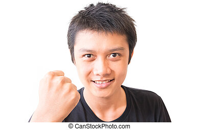 Asian young man showing hand for successful and happy feeling