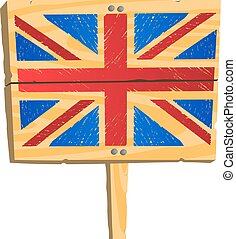 Wooden plate with British flag
