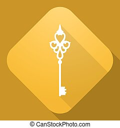 Vector icon of Key with a long shadow - Vector illustration....