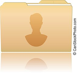 Folder with male silhouette - Vector illustration. Folder...