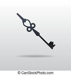 Vector icon of Key - Vector illustration. Vector icon of...