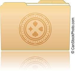 Folder with Casino Chip - Vector illustration. Folder with...