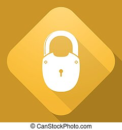 Vector icon of Padlock with a long shadow - Vector...
