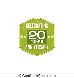 Celebrating 20 years anniversary badge, sign and emblem....