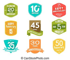 Anniversary badges, signs and emblems collection in...