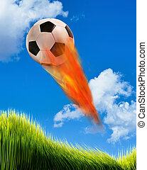 Soccer ball on Fire. - Soccer ball on fire and flying fast...