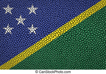 Solomon Islands Flag painted on stingray skin texture