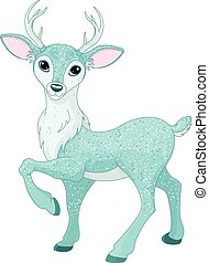 Christmas Deer - Christmas illustration of magical sparkly...