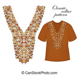 Neckline embroidery. Beautiful fashionable collar...
