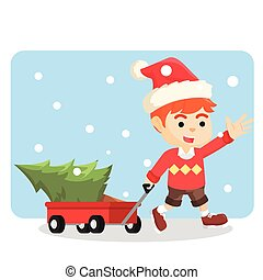 boy with cart of tree