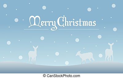 Deer with snow Christmas landscape of silhouettes
