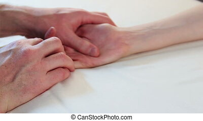 Hand massage - video of hand massage for young beauty woman...