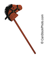 3D Rendering Hobby Horse on White - 3D rendering of a...