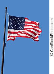 blu, verticale, immagine, cielo, americano, ondeggiare, bandiera
