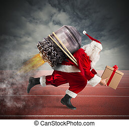 Race to the delivery of Christmas gifts - Santa Claus with...