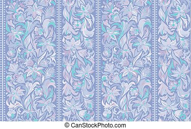 Seamless pattern with vertical stripes and floral hand...