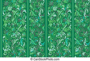 Seamless pattern with vertical stripes and floral hand drawing ornament. Vector wallpaper