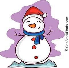 Christmas snowman character cartoon vector