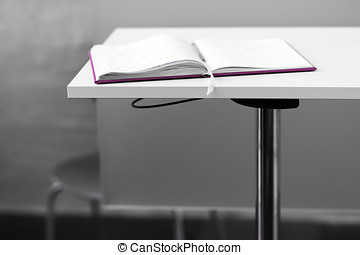 Opened book on table backdrop