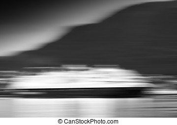 Black and white motion blur moving ship background hd