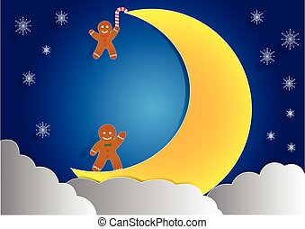 ginger bread with big moon and cloud background, christmas...