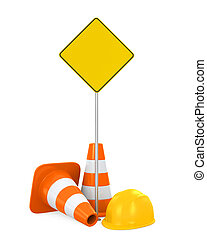 Traffic Cones, Safety Helmet and Blank Warning Sign isolated...