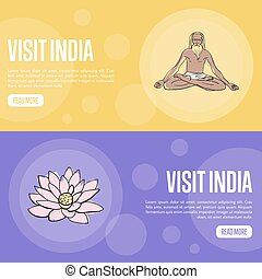 Visit India Touristic Vector Web Banners - Visit India...