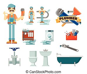 Professional plumbing repair service set - Professional...