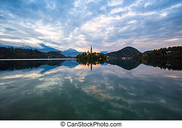 Lake Bled and small island Slovenia - Lake Bled with St....