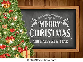 Christmas background with chalkboard