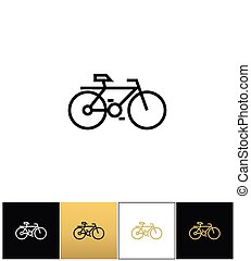 Bicycle line symbol or travel velocity bike outline vector icon