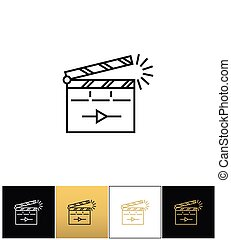 Film clapping clap board or clapperboard vector icon. Film...
