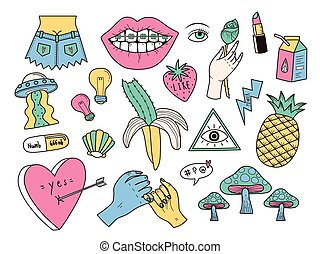 Funny patch badges set, weird elements collection for...