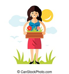 Vector Gardening Woman with flowers. Flat style colorful Cartoon illustration.