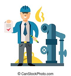 Vector Gas Manager. Flat style colorful Cartoon...