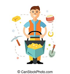 Vector Gold miner. Flat style colorful Cartoon illustration....