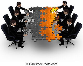 Two business teams building a puzzle