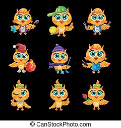 Vector set of cute owls. Cartoon characters different...
