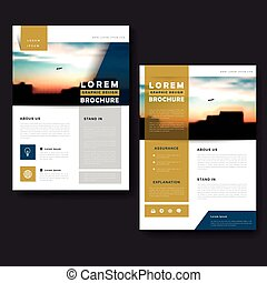 Picturesque brochure template design with city landscape and...