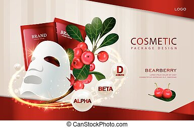 Bearberry cosmetic ads template, 3D illustration facial mask...