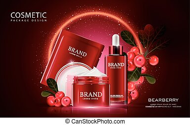 Bearberry cosmetic ads template, 3D illustration cosmetic...