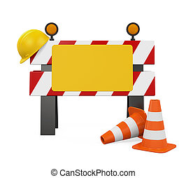 Under Construction Barrier, Traffic Cones and Safety Helmet...